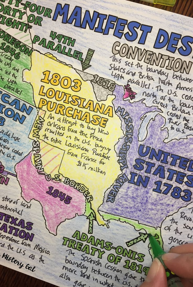 Manifest Destiny Doodle Notes - Use this 18 page resource with your 4th, 5th, 6th, 7th, 8th, 9th, 10th, or 11th grade classroom and homeschool students. Students will learn about Manifest Destiny and the expansion of the United States between 1783 - 1853. These graphic doodle notes summarize the expansion of the US from the Treaty of Paris of 1783 through the Gadsden Purchase in 1853. Upper Elementary, Middle School, & High School approved