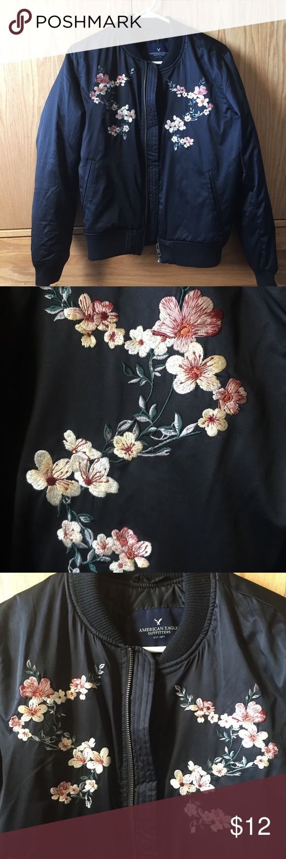 Embroidered American Eagle Jacket Floral embroidered American Eagle Jacket. Size medium in great condition. Feel free to ask any additional questions.   💕 please make offers through offer button 💰 bundle for a 20% off discount  🚬🐶 smoke & pet free home  🚫 sorry no trades American Eagle Outfitters Jackets & Coats