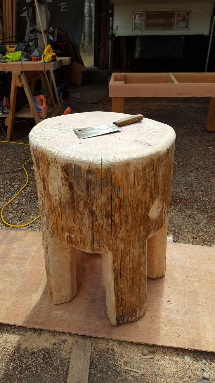 homemade rustic butcher block table
