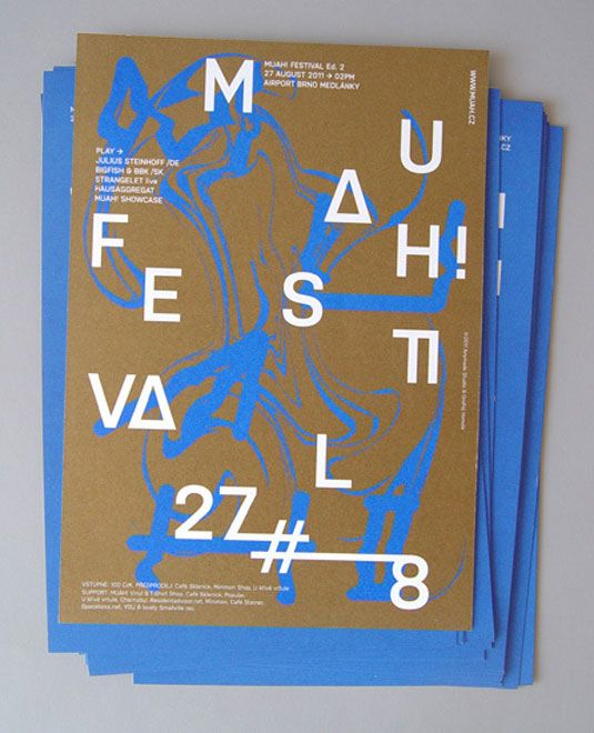 This custom typography, silkscreen flyer design was printed on limited run in special colour edition in A5 size. We love the experimental lay-out and the careful selection of colours. Designed by Czech Republic studio Anymade - we love their style!