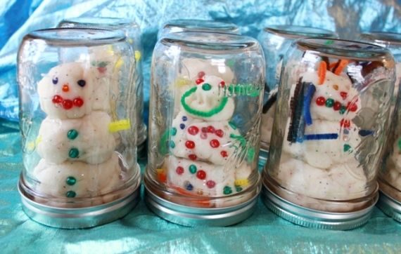 Playdough Snowman Snowglobes