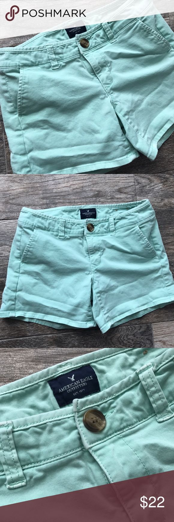 American Eagle Midi Solid Mint/ Light Blue Shorts American Eagle Solid Mint/ Light Blue Shorts - Stretch/ Size 2. American Eagle Outfitters Shorts