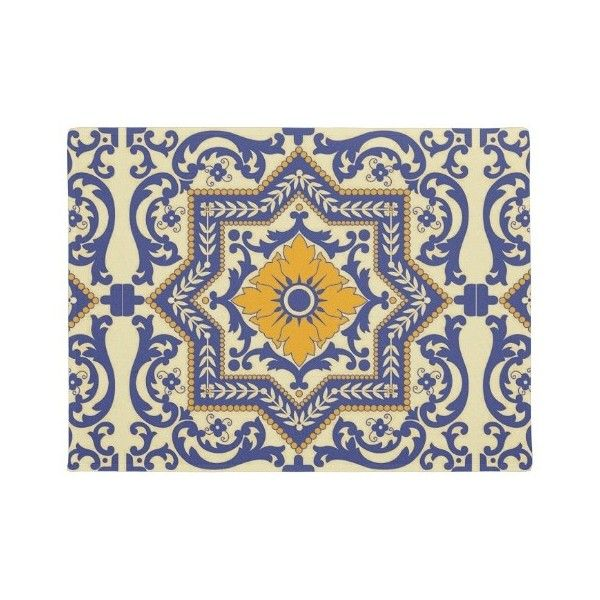 Ceramic Azulejo Style Blue Orange Door Mat Doormat ($38) ❤ liked on Polyvore featuring home, outdoors, outdoor decor and vintage garden decor