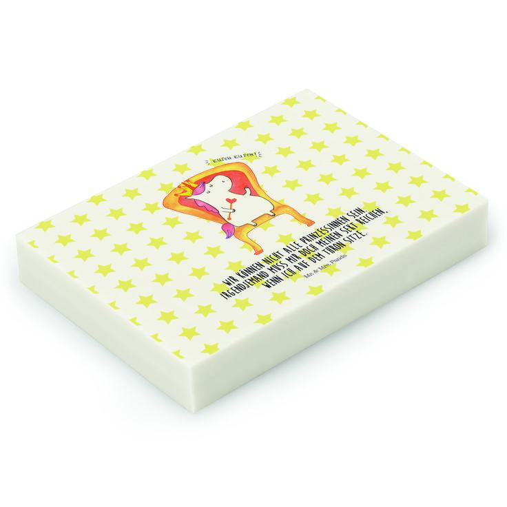 Radiergummi Einhorn König aus Natur Kautschuk   weiß - Das Original von Mr. & Mrs. Panda.  Die einzigartigen Radiergummis von Mr. & Mrs. Panda sind wirklich sehr besonders - sie werden komplett in deutschland gefertigt und von uns in der Manufaktur liebevoll bedruckt. Die Größe beträgt 46 mm x 33 mm und es handelt sich um ein hochwertiges, deutsches Markenprodukt.    Über unser Motiv Einhorn König  Das süße Einhorn auf dem Thron ist genau das richtige Geschenk für die beste Freundin. Denn…