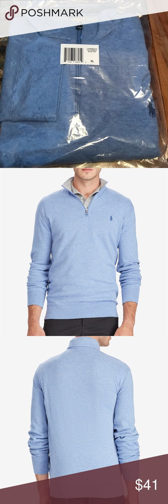 NWT Polo Ralph Lauren men's half zip sweater Brand new!! Polo Ralph Lauren men's jersey half zip sweater. Color is Campos Blue Heather. Size is XL Polo by Ralph Lauren Sweaters