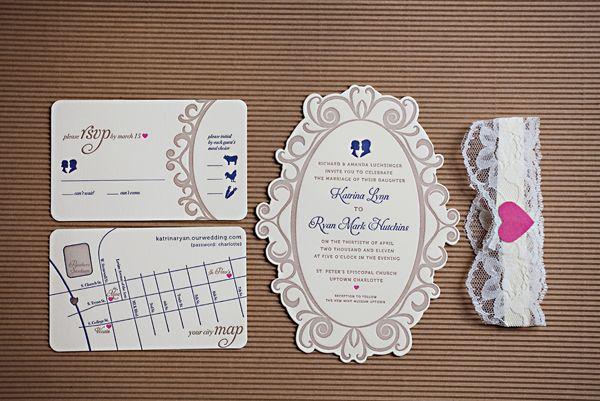 diecut, garter invitation idea