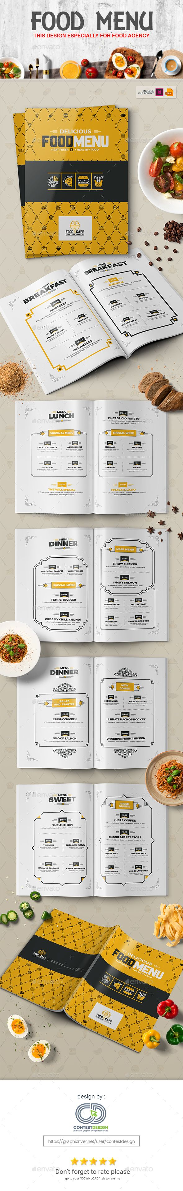 #Food #Menu Design Template for Fast Food / #Restaurants / Cafe - Food Menus Print Templates Download here: https://graphicriver.net/item/food-menu-design-template-for-fast-food-restaurants-cafe/20308240?ref=alena994