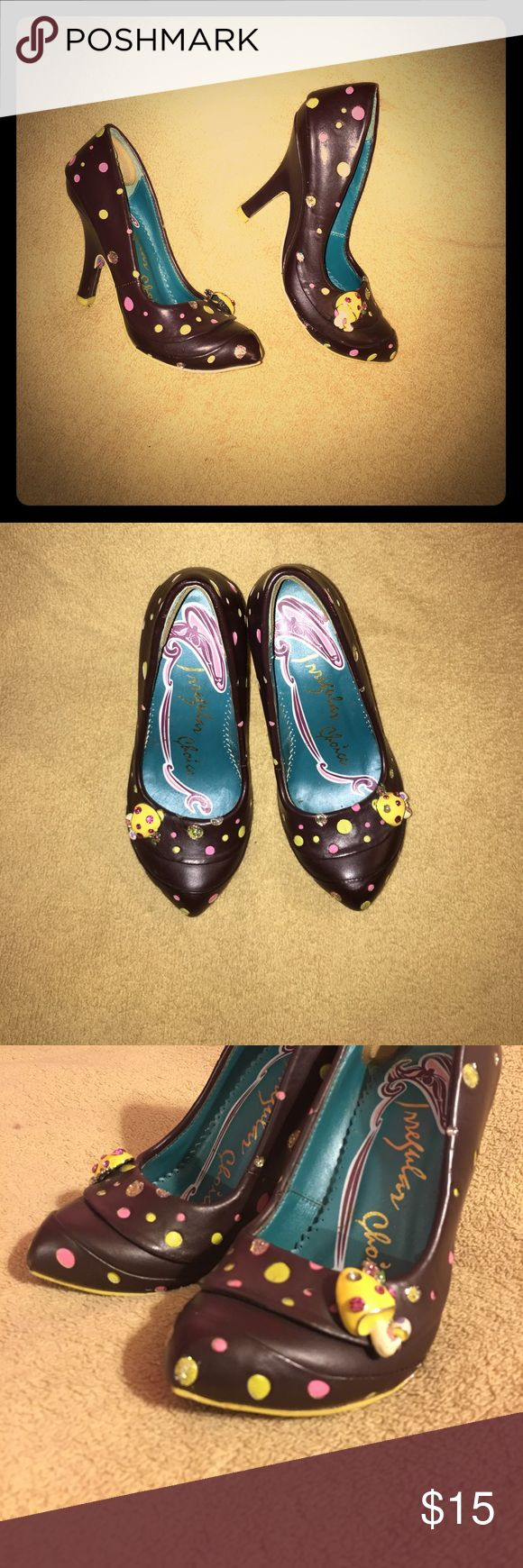 Irregular Choice heels brown leather w/ mushroom Cute irregular Choice heels size 36 (euro) size 6 (USA) polkadots.... soooo cute!! I love the mushrooms attached  irregular Choice Shoes Heels