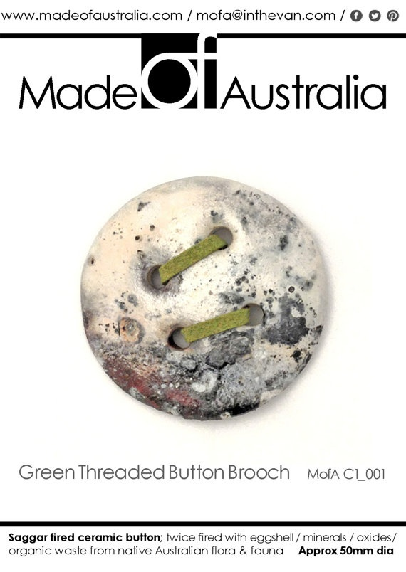 Ceramic Button Brooch with Green Leather by MadeOFAustralia, $69.00