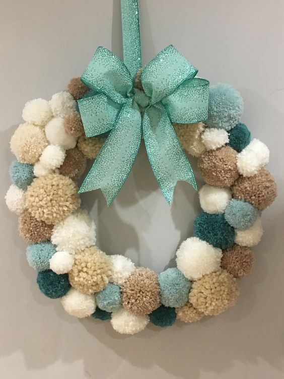 Pom pom wreath Christmas craft in 2020 Christmas pom pom