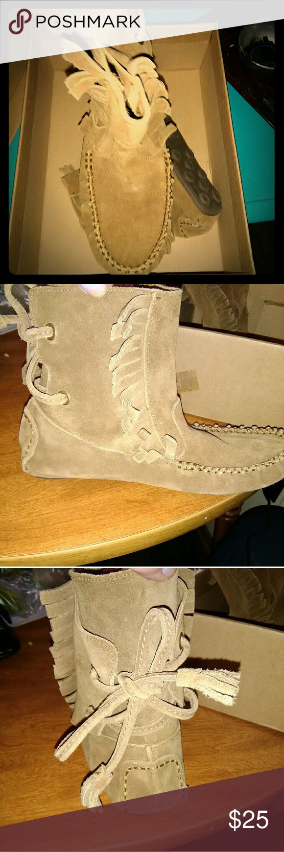 J. Crew Sienna Fringed Mocassin Booties Only wore twice Shoes Ankle Boots & Booties