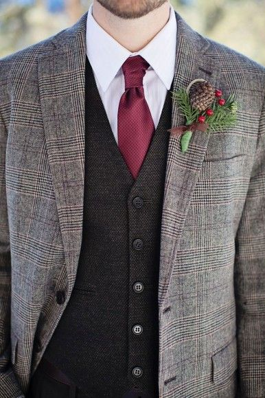 Groom Attire, Tweed, Pine Cones,groom style,