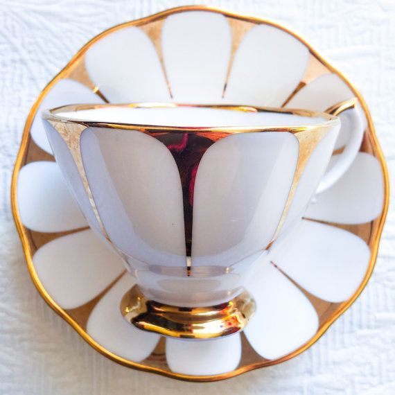 Glamorous Gold Royal Vale 1950's Mid Century by TheBelovedTeacup
