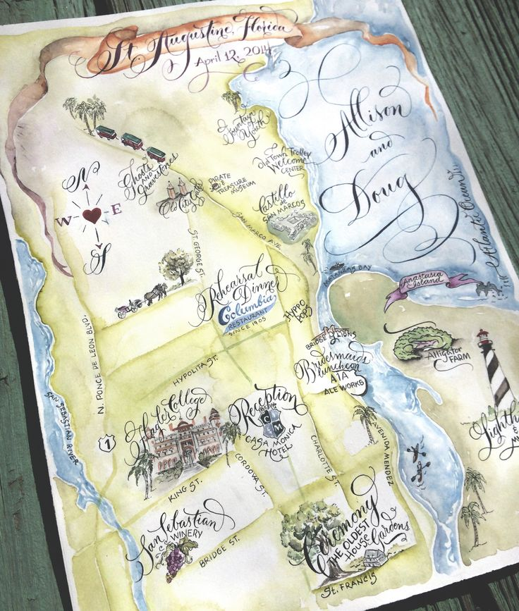 Wedding Map Save the Date Custom Illustrated