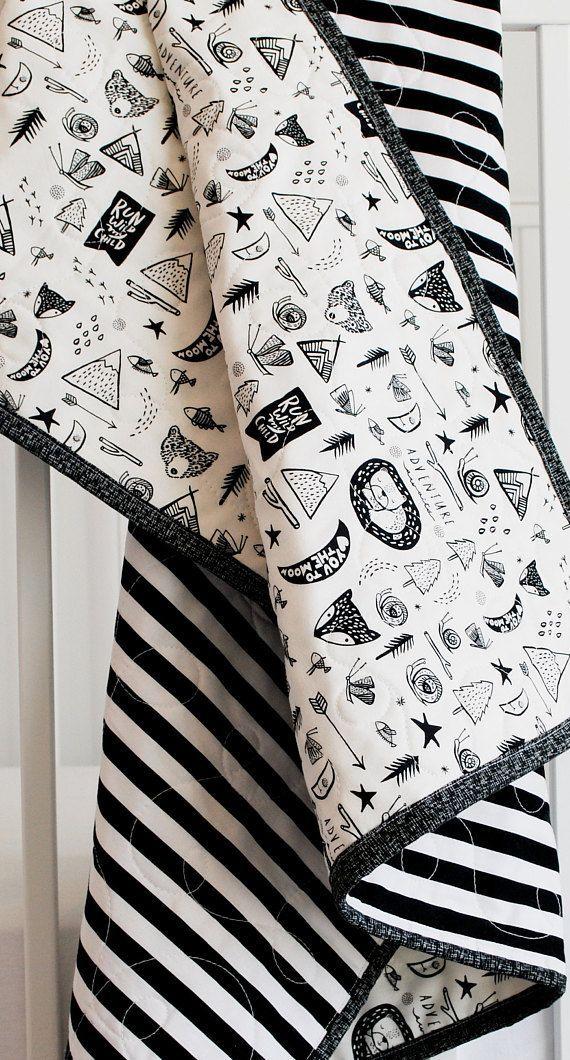 100 Cotton Baby Blanket Black And White Adventure Newborn Cotton Baby Blankets Baby Boy Blankets Blanket Black