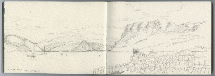Loch Carron from the marina quay. Pencil study late August. The most beautiful place.