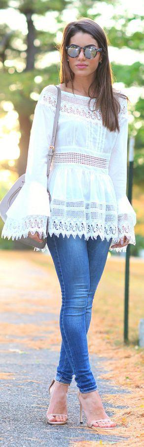 White Lace Blouse #Lace Blouses