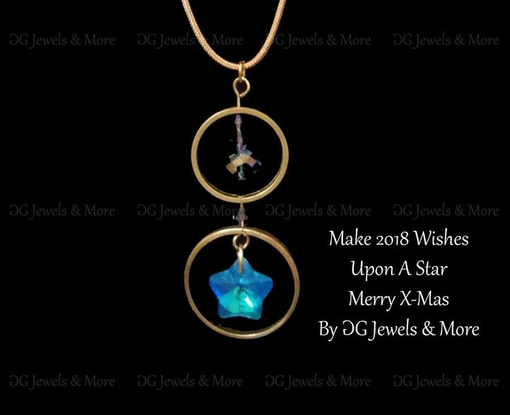 X-mas Lucky Charm 2018 pendant blue star brass circles tinas creations #GGJewelsMore #Pendant