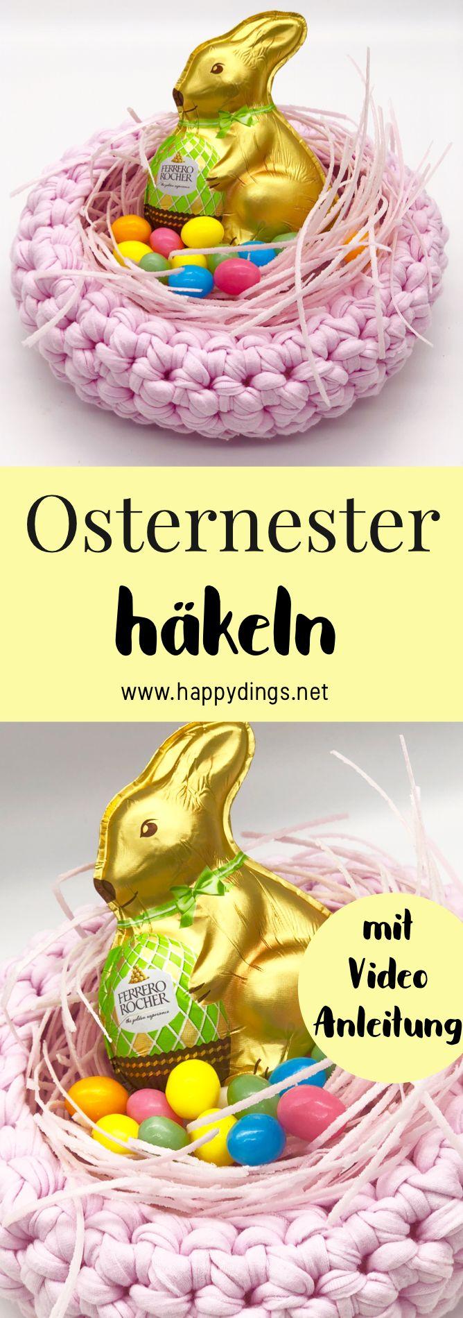 {Anzeige} DIY Osternest selber machen. Körbe als Dekoration für Ostern selber  häkeln. Einfache Häkelanleitung für einen Osterkorb auf deutsch. Kreative Ideen für das Osternest basteln. Einfache Anleitung für schöne Ostergeschenke. #anzeige #OTTOliving #ostern #diyostern #osterdeko #häkeln