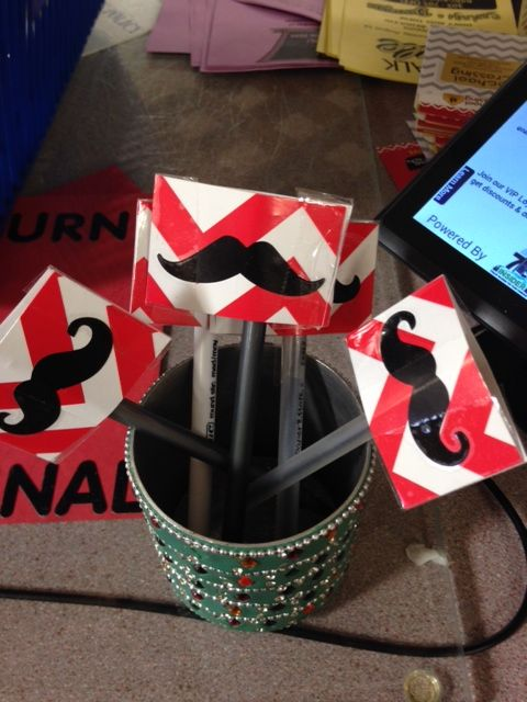 """""""I mustache you to sign"""" created by School Crossing. They cut Creative Teaching Press's Poppy Red Chevron border, added a Mustache cut-out and laminated it!"""