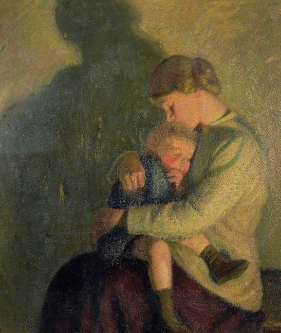 Sir William Rothenstein (English 1872 - 1945) 'Mother and Child, Candlelight'