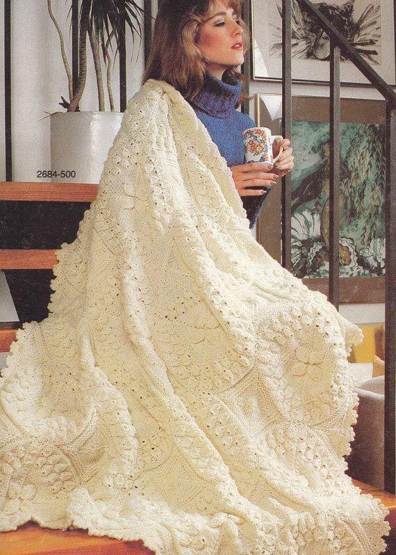 Vintage Afghan Knitting Pattern by Bernat