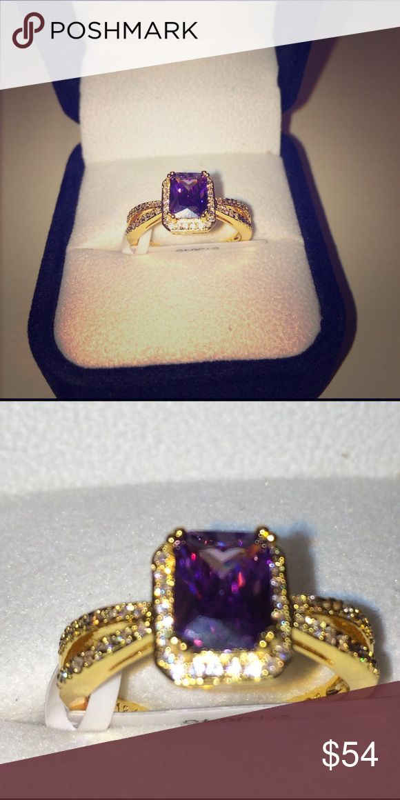 New Fine Amethyst & White Sapphire Ring New 2.15ctw 18k Yellow Gold Plated, Beautifully Created Fine Amethyst & White Sapphire Ring. Size: 8 Color: Purple. So much prettier than the picture. Elite Jewelry Studio Jewelry Rings