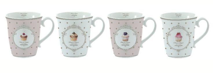 set 4 mug in porcellana con decorazioni Cupcakes € 27,90
