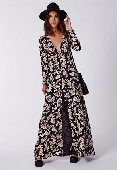 Long button up maxi dress