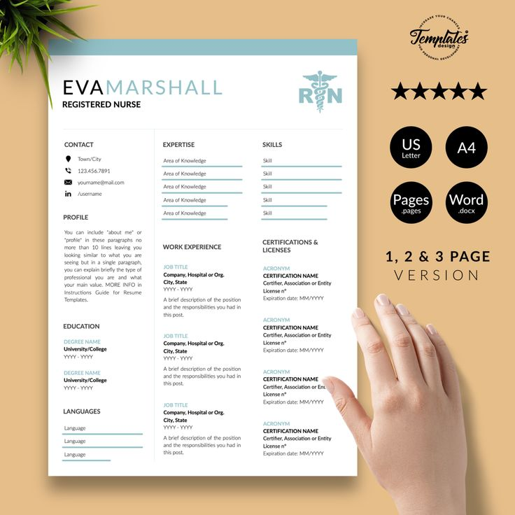 Best Registered Nurse Resume Template for Word / Nursing
