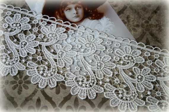 "Lace Trim Venice Floral Pattern Lace for Bridal, Costumes, Sashes, Sewing, Altered Art, Couture Gowns, Crafts approx. 4"" LA-178"