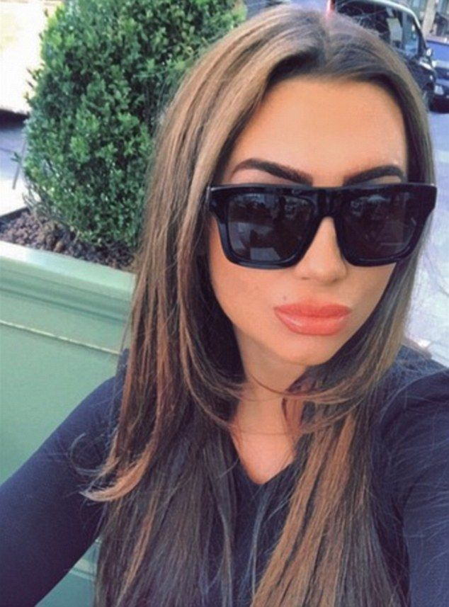 Treat weekend: Lauren Goodger showed off her new brows at Harrods on Tuesday after an indu...