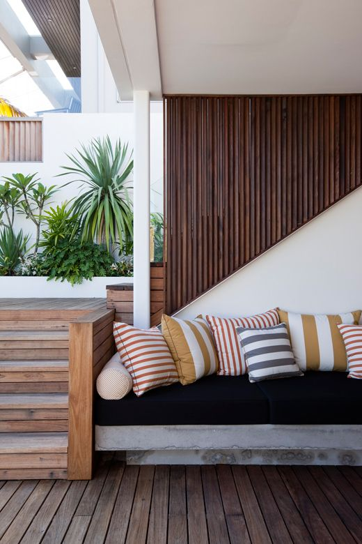 wood detail + outdoor seating