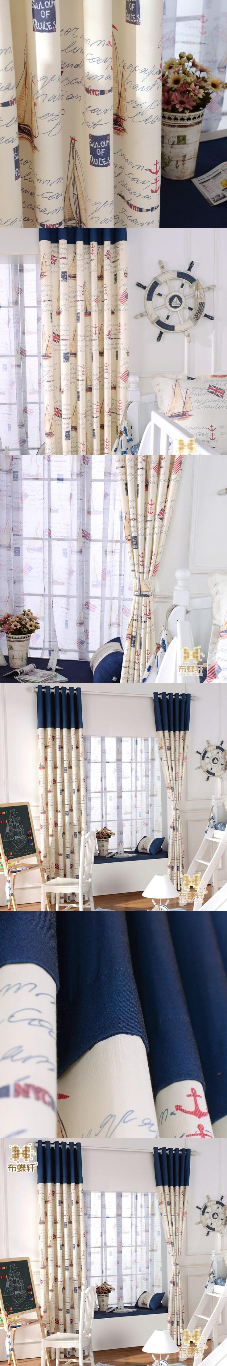 Mediterranean Sails Boat Cartoon Children's Bedroom Eco-Friendly Curtains for Boys Fabric Blue Stitching Kids Curtain