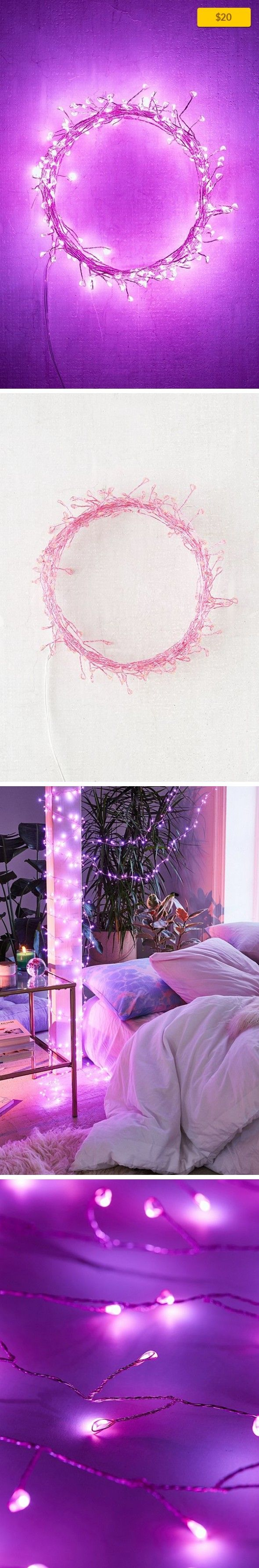 Vine String Lights Apartment, Lighting + Candles, String Lighting   Create a magical natural space with these vine-style string lights – only at Urban Outfitters. With delicate copper wire trimmed with small branches holding LED fairy lights. The copper wire holds white LED lights. Purple wire features purple LED lights. Green wire has green LED lights and the pink wire features pink LED lights....