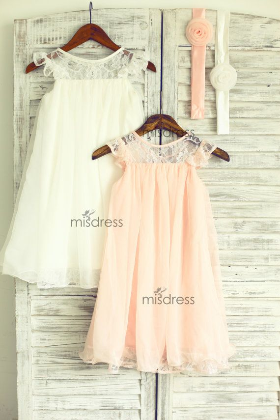 Ivory Blush Pink Lace Chiffon Flower Girl Dress Cap by misdress