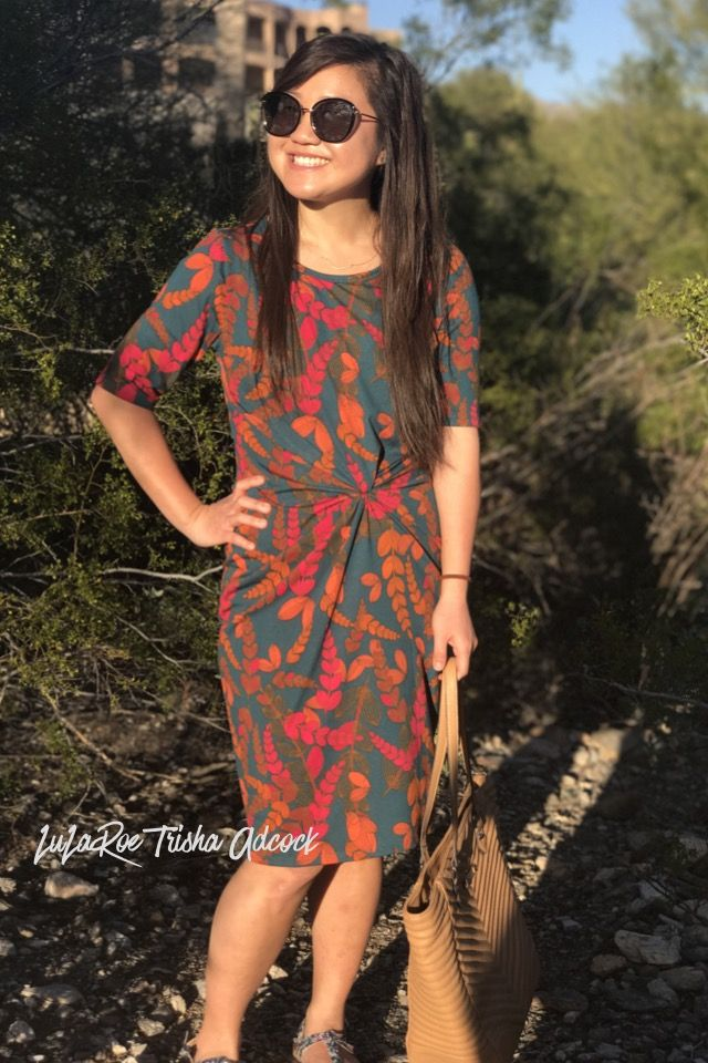 The lularoe julia dress with a sunburst knot.  Click on the photo to shop!!    Lularoe Trisha adcock  https://m.facebook.com/groups/909632302491842