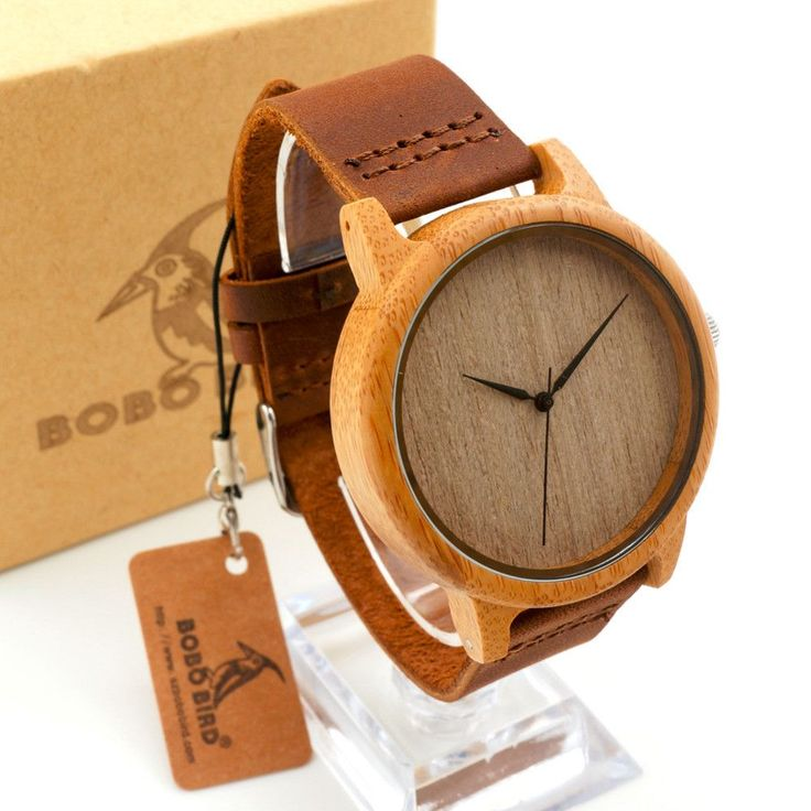 Men's Bamboo Wooden Wristwatches - Genuine Cowhide Leather Band Luxury Wood Watches for Men as Gifts