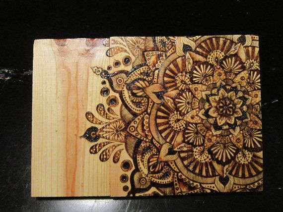 ORIGINAL ARTWORK: Rustic Wood Burned Mandala