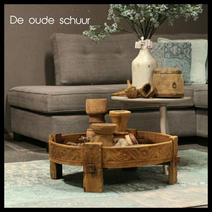 Originele chakki tafel uit India Doorsnede 80 cm Hoog 35 cm € 199,95 massief teakhout www.deoudeschuur.com op halen in Heesch.