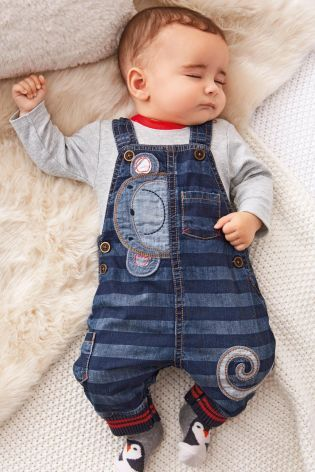 Buy Denim Stripe Monkey Dungarees (0-18mths) from the Next UK online shop