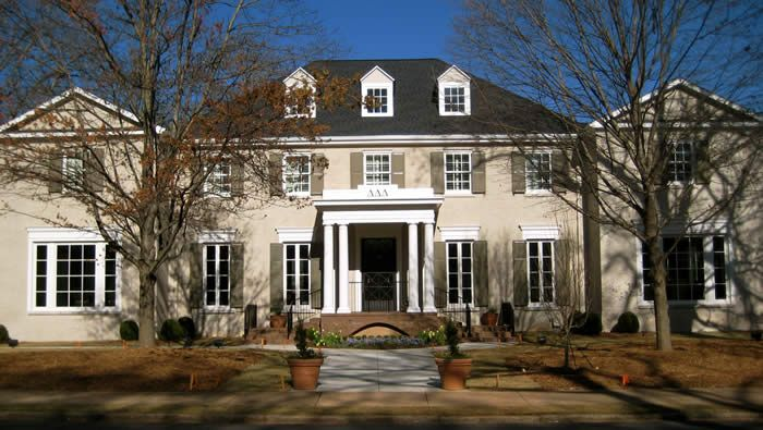 Georgia - Alpha Rho chapter stands at 24,321 square feet and houses 67 members. Complete with 14 tasty meals a week, There is nothing better than this house!