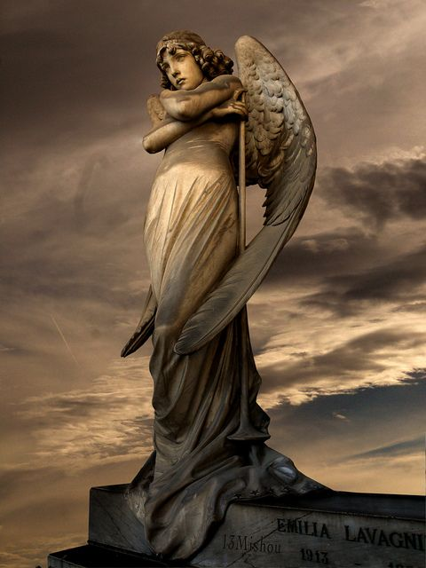 Photographers must love this Angel of Staglieno...beautiful on it's own...but they add atmosphere to make it emotional beyond words. Just breathe and ponder. Genoa, genoa Province, Liguria region Italy