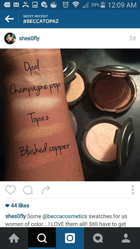 BECCA Highlighters swatches on woc