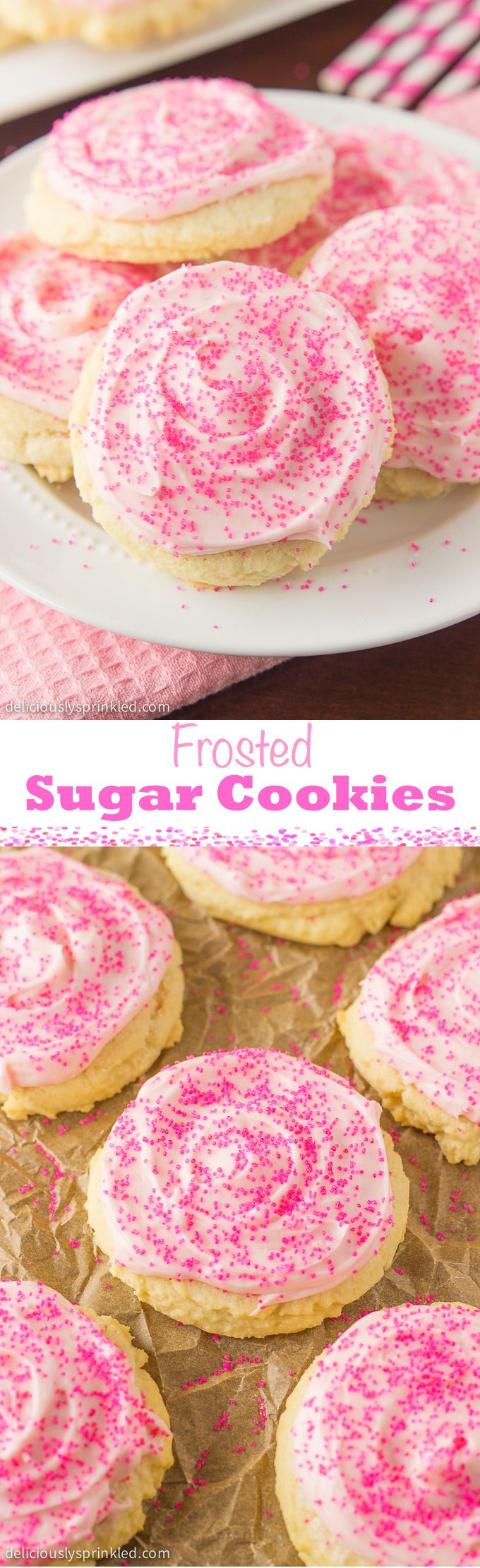 Frosted Sugar Cookies Ingredientes Vegetarian Refrigerados 3 Egg yolks Repostería y especias 2 1/2 cups All-purpose flour 1 tsp Baking powder 3/4 tsp Baking soda 1 1/2 cup Granulated sugar 1 Pink food coloring 2 1/2 cups Powdered sugar 1 Sprinkles 1 tsp Vanilla extract 1 tbsp Vanilla extract, pure Lácteos 1 cup Butter, salted 1 (2 sticks) cup Butter, unsalted 1 tbsp Heavy whipping cream