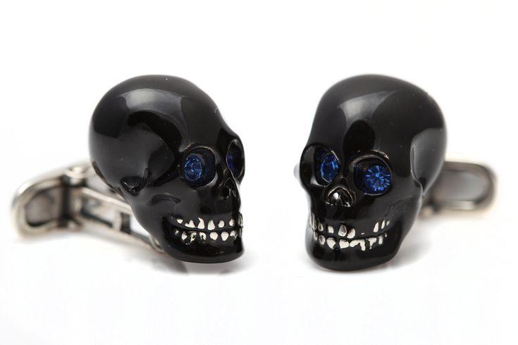 Sterling Silver Enamelled Black Skull cufflinks NEW by StartJewellery on Etsy