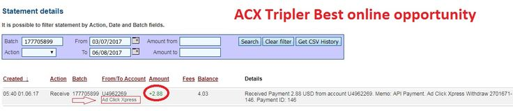 Make extra money at ACX Tripler I make money having fun at ACX Stay at home and make money online Earn extra money without getting a regular job!!! This can be your regular or part time jobs, excellent for beginners students mothers Join now: http://www adclickxpress.is/?r=nenomladenovski&p=mx This is payment proof Date: 01/06/2017 05:40 To Pay Processor Account: U4962269 Currency: USD Amount: 2.88 Batch: 177705899 Memo: API Payment. Ad Click Xpress Withdraw 2701671-146