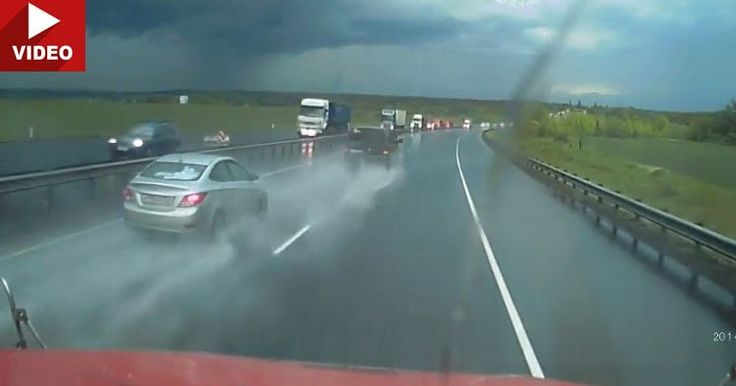 Aquaplaning Is A Cold And Formidable Foe On The Highway #Accidents #Dashcam