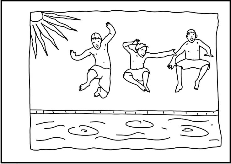 swimming kids coloring pages - photo#8