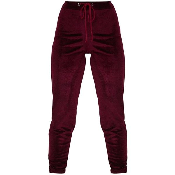 Petite Burgundy Velour Joggers ($27) ❤ liked on Polyvore featuring activewear, activewear pants, petite sportswear, petite activewear and petite activewear pants